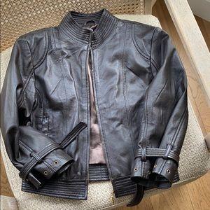 Vintage leather moto jacket dark brown Small🤘🏽